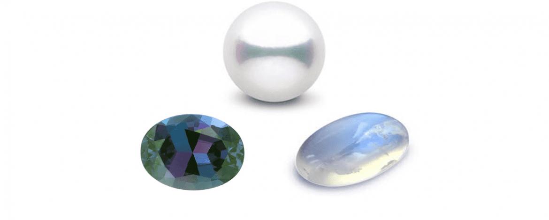 June – Pearl, Alexandrite and Moonstone
