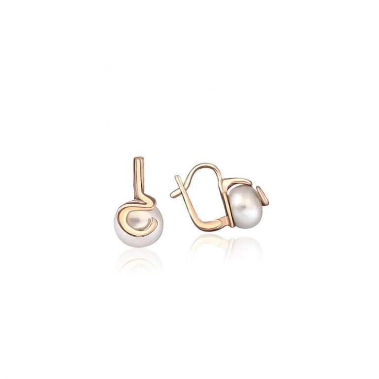 Medium size rose gold earrings with cultivated pearls. Earrings have latch backs