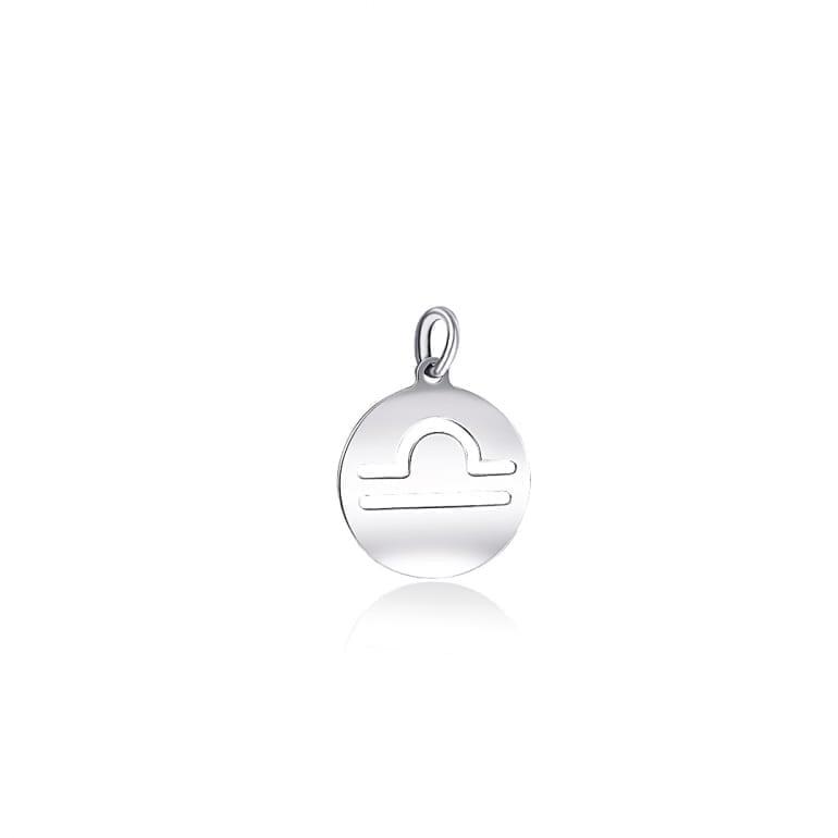 Plain sterling silver pendant zodiac sign libra