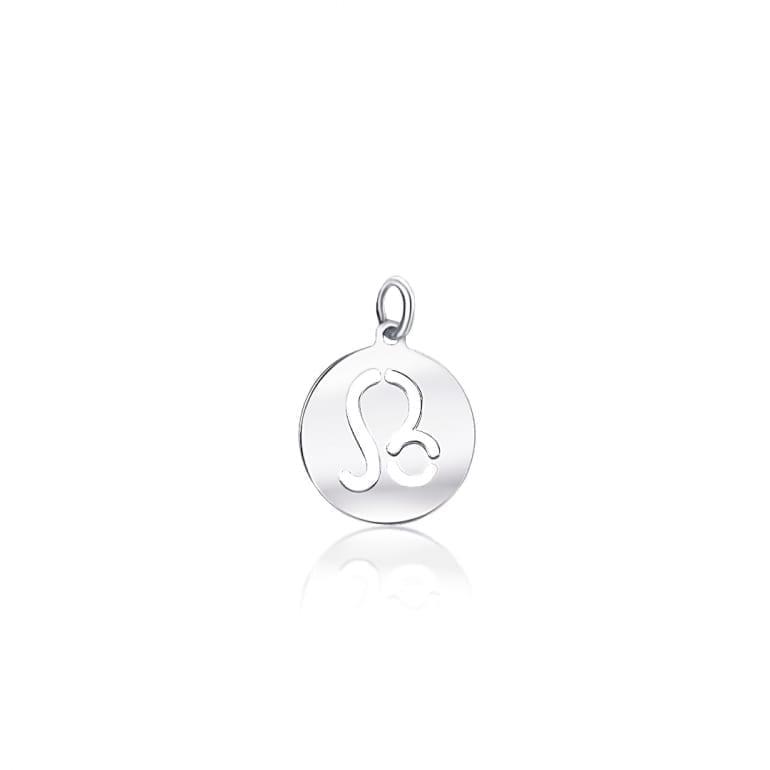 Plain sterling silver pendant zodiac sign leo