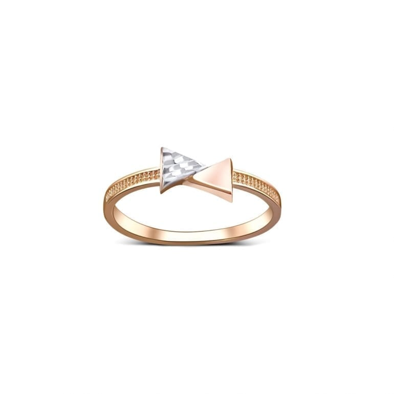Rose gold ring with white gold element