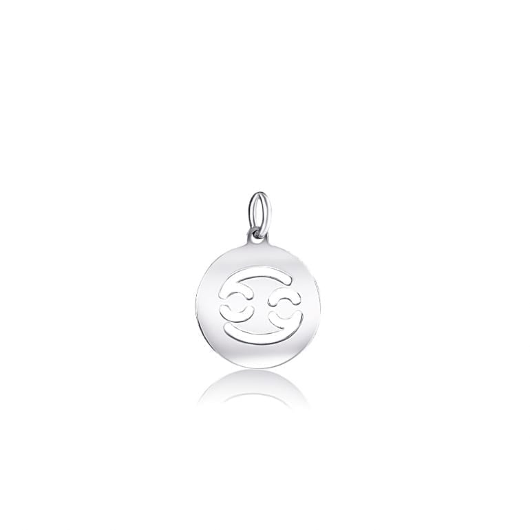 Plain sterling silver pendant zodiac sign cancer