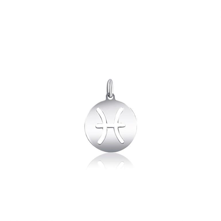 Plain sterling silver pendant zodiac sign pisces