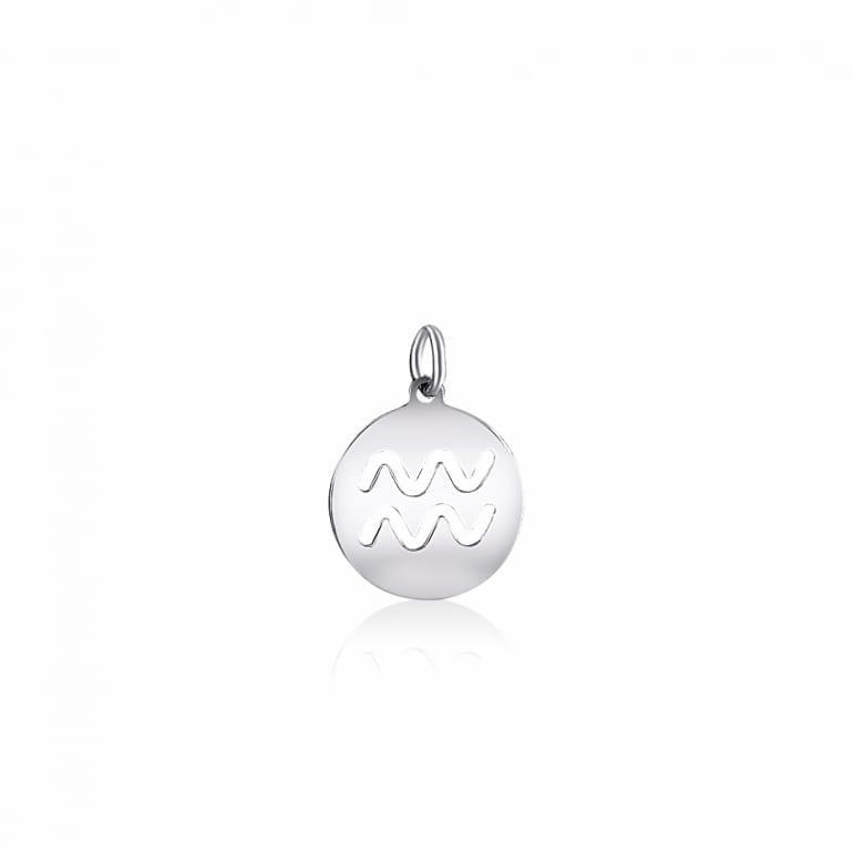 Plain sterling silver pendant zodiac sign aquarius