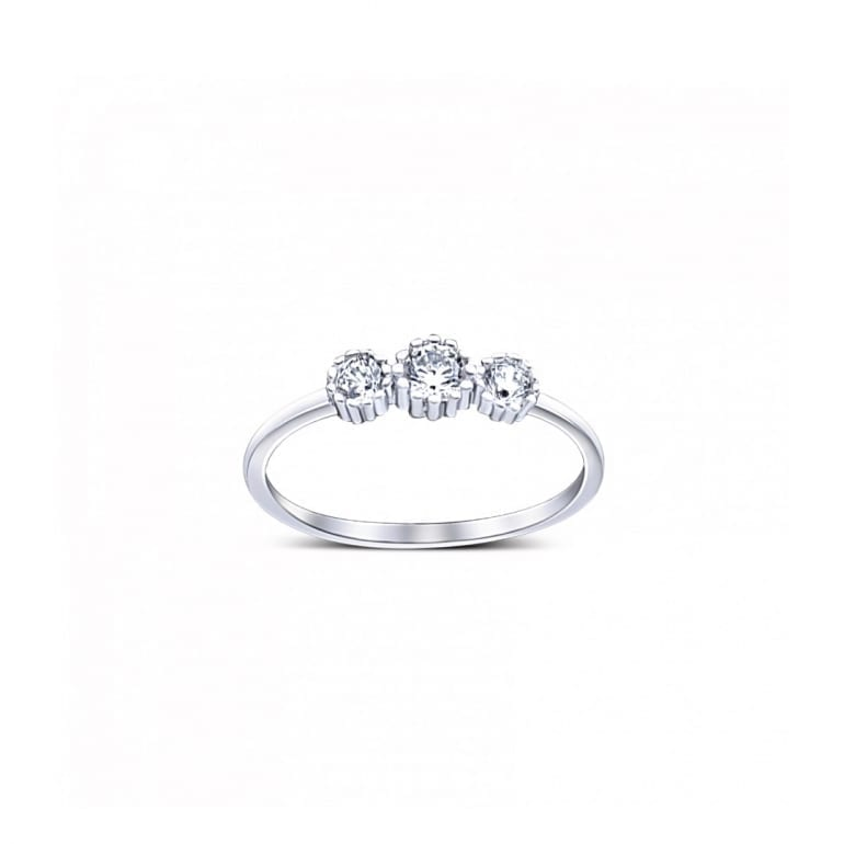 Narrow white gold ring with three cubic zirconia stones