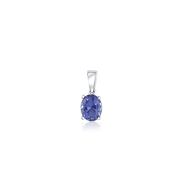 Sterling silver pendant with one medium size oval tanzanite