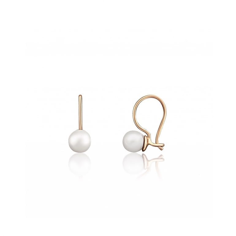 Small rose gold earrings with cultivated pearls. They have hook closures
