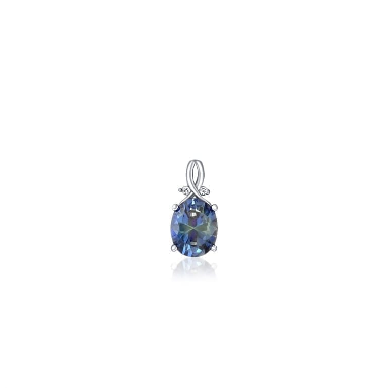 Sterling silver pendant with medium size tanzanite and two cubic zirconia stones