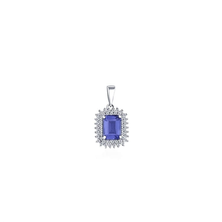 Sterling silver pendant with large emerald cut tanzanite and multiple cubic zirconia stones