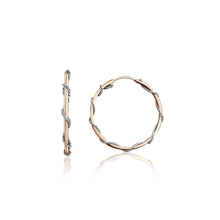 Medium size hoop earrings with rose and white gold