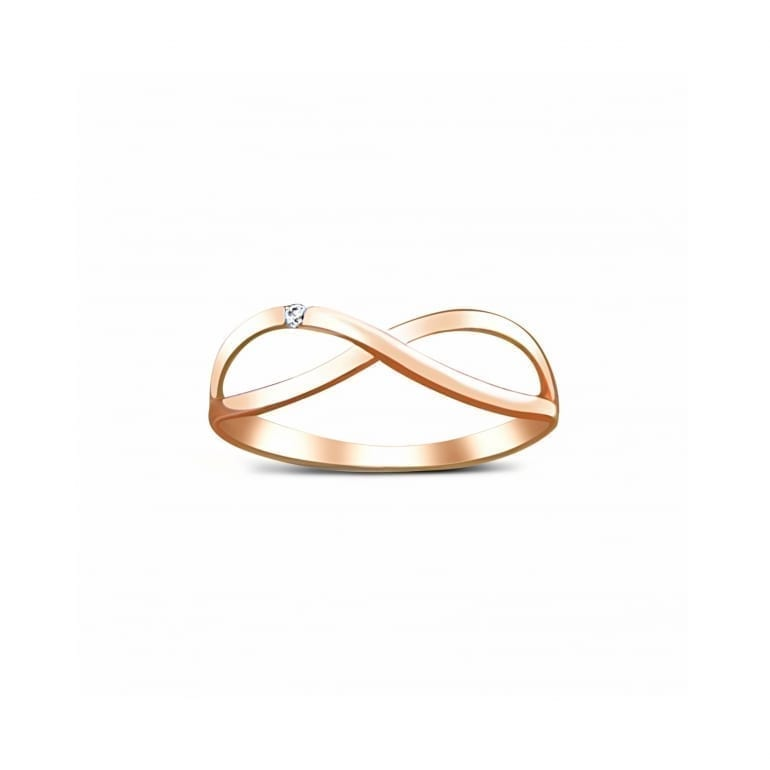 Infinity rose gold ring with one cubic zircon stone