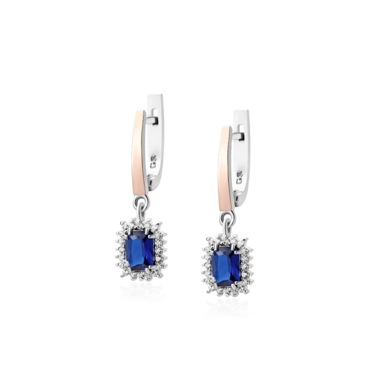 Dangling sterling silver earrings with 9ct gold plates and cubic zirconia