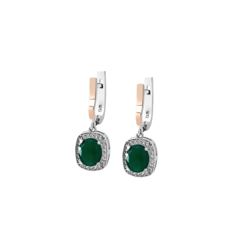 Sterling silver earrings with 9ct gold plates and green cubic zirconia