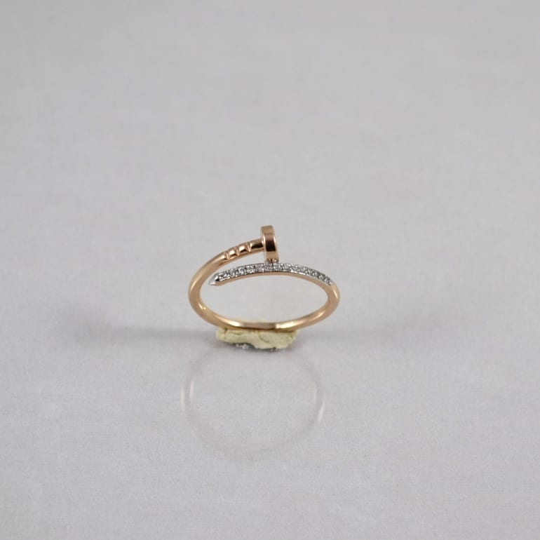 Rose and white gold ring with cubic zirconia