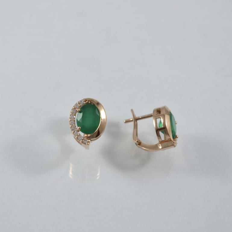 Rose gold earrings with green onyx and cubic zirconia