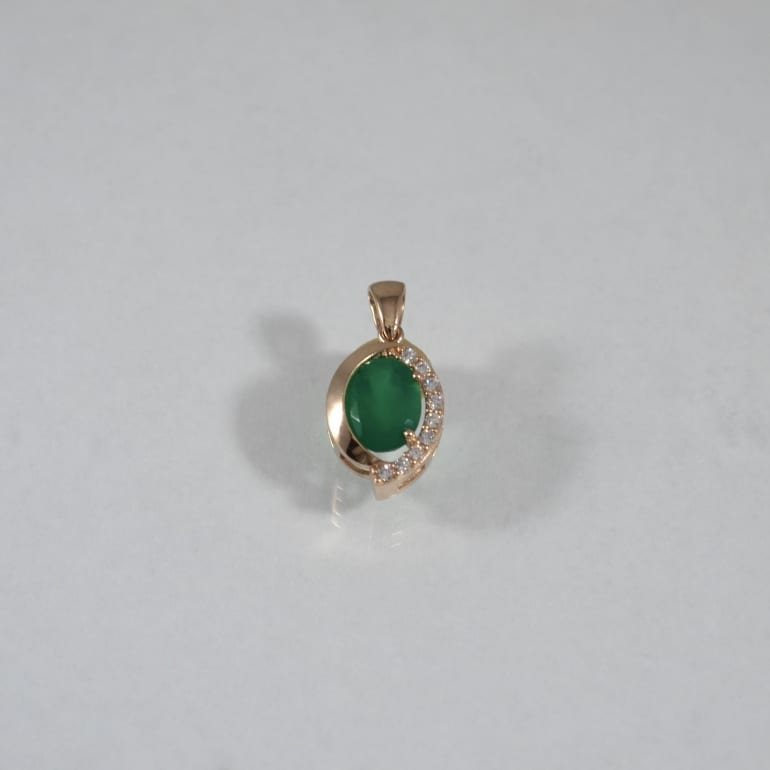 Rose gold pendant with green onyx and cubic zirconia