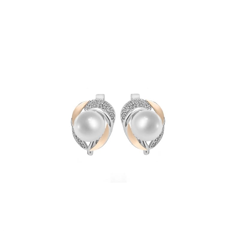 Sterling silver earrings with 9ct gold plates and white cultivated pearls and cubic zirconia