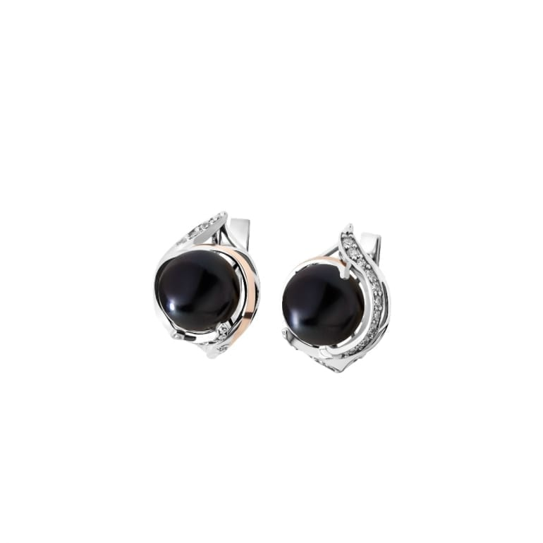 Sterling silver earrings with 9ct gold plates and black cultivated pearls and cubic zirconia