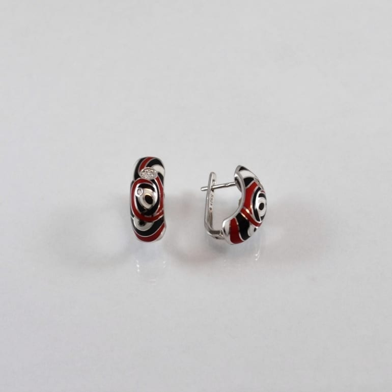 Sterling silver earrings with enamel and cubic zirconia