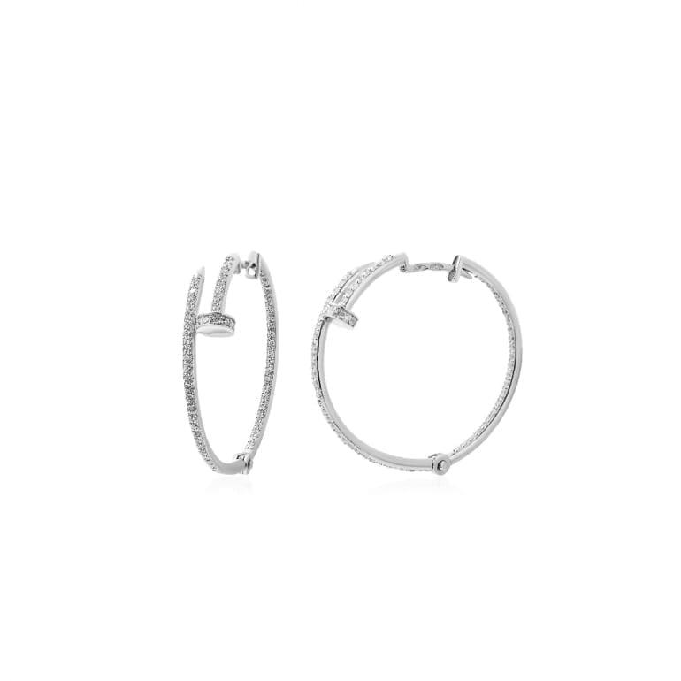 Sterling silver hoop earrings cubic zirconia