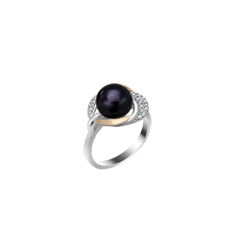 Sterling silver ring with 9ct gold plate and dark blue cultivated pearl