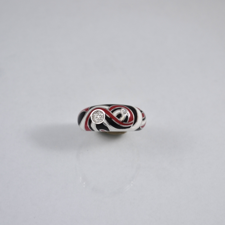Sterling silver ring with enamel and cubic zirconia