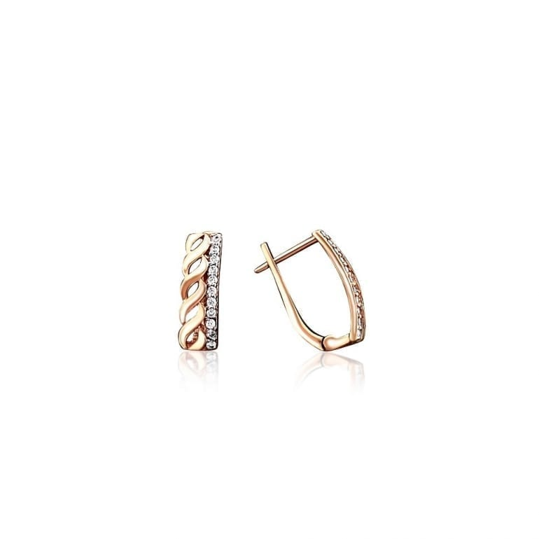 14ct rose gold earrings with cubic zirconia