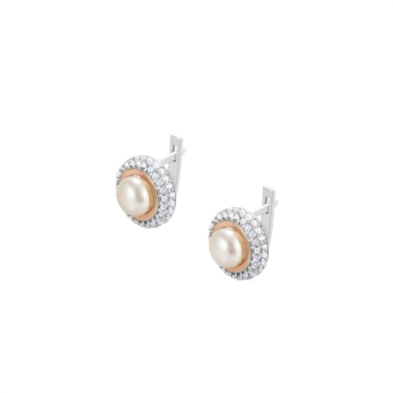 Sterling silver earrings with gold plates and cultivated pearls