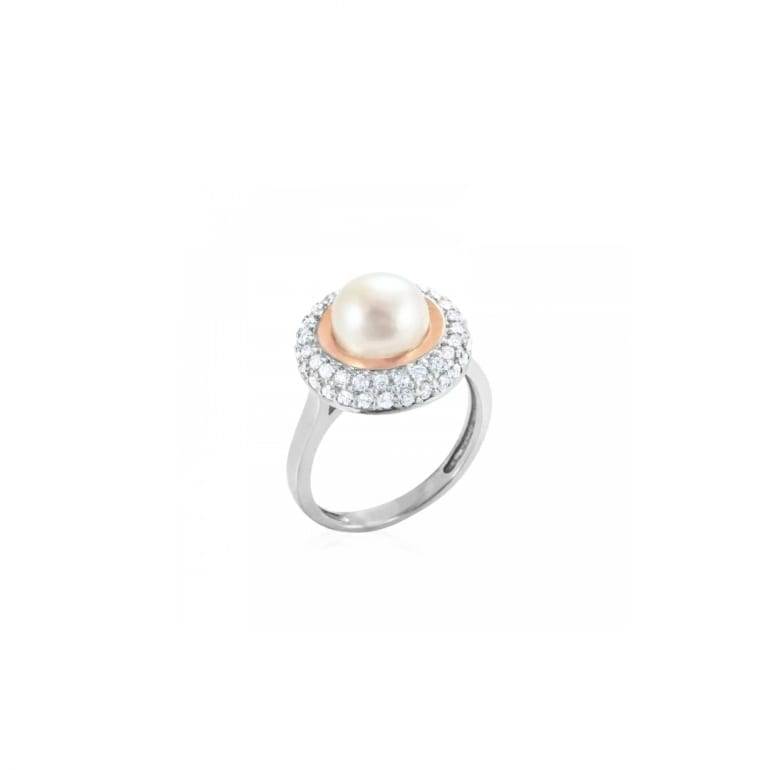 Sterling silver ring with gold plates and cultivated pearl
