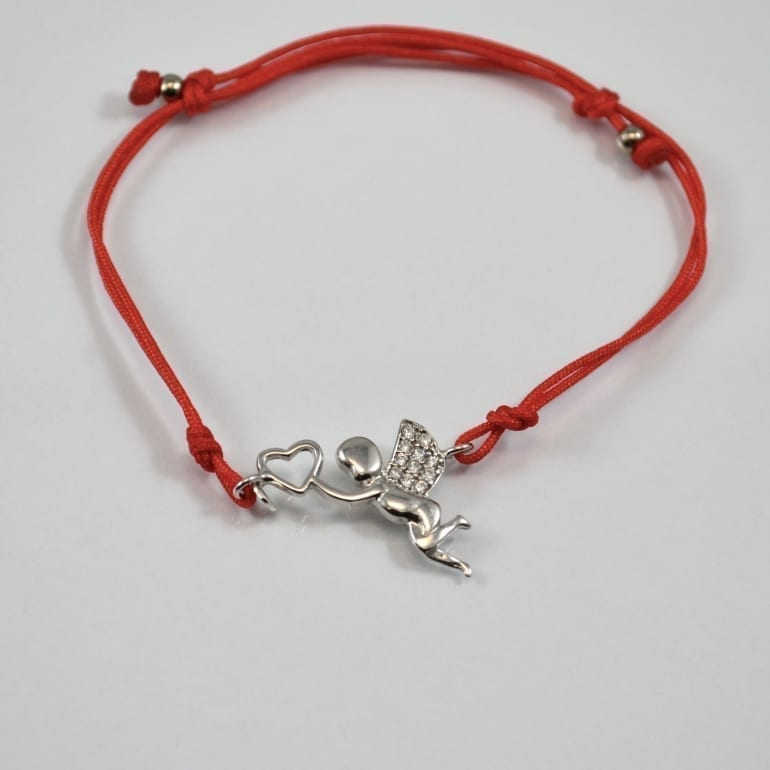 Red thread bracelet with sterling silver element angel