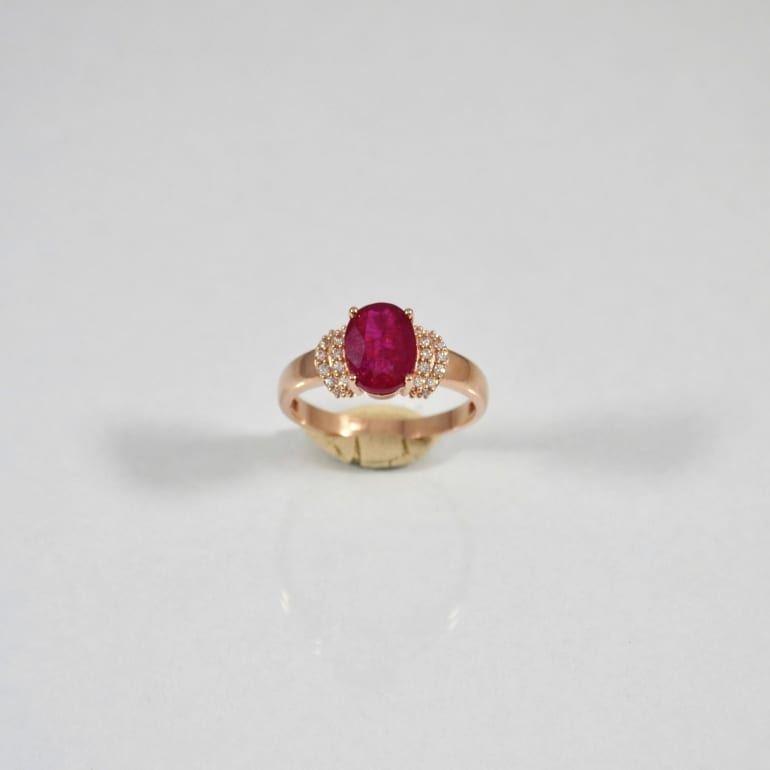 14ct rose gold ring with ruby and cubic zirconia