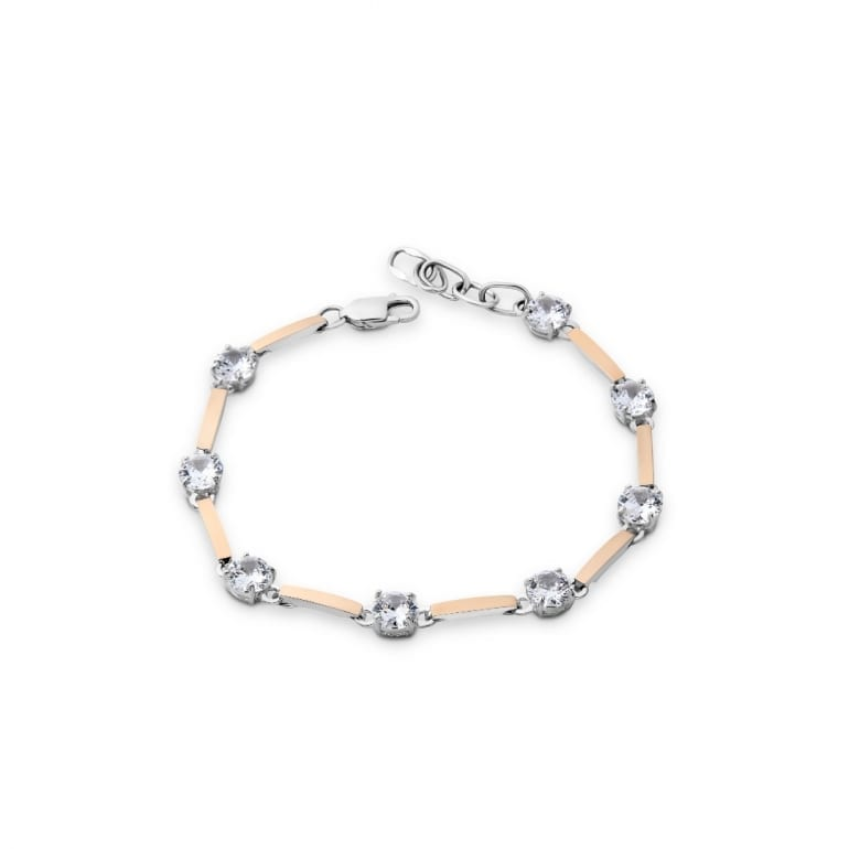 Sterling silver bracelet with gold plates and cubic zirconia