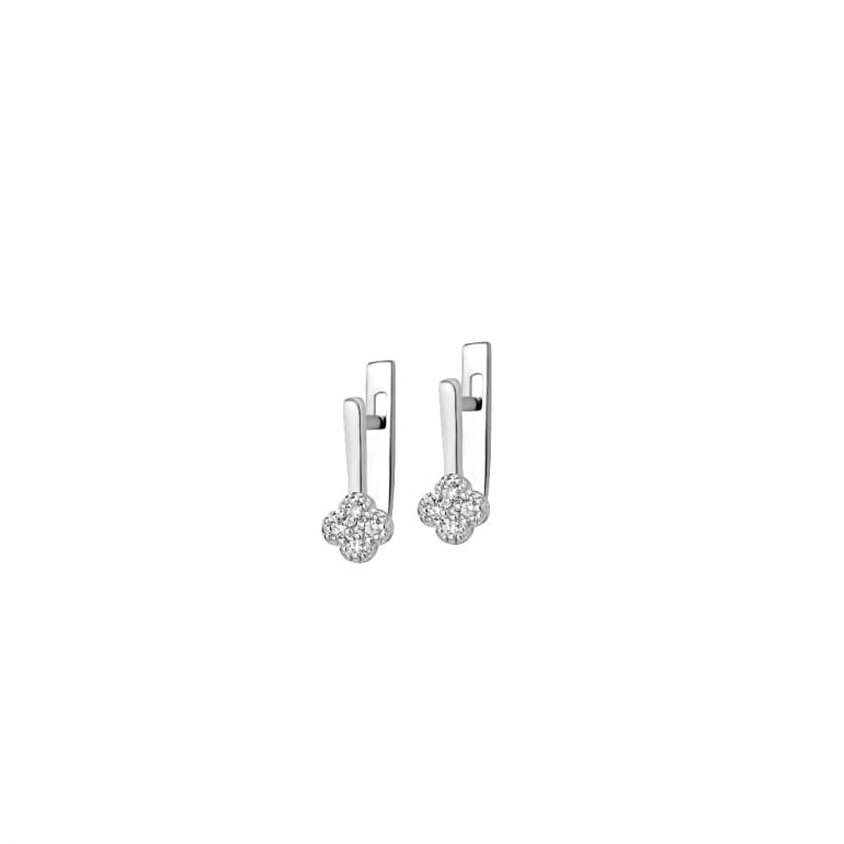 Stering silver earrings with diamonds