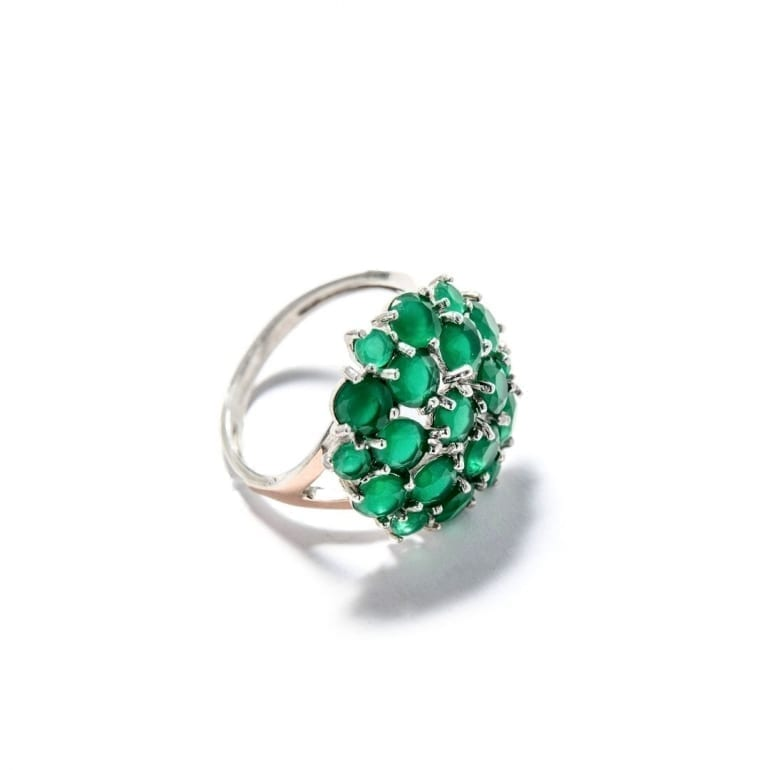 Sterling silver ring with gold plates and green cubic zirconia