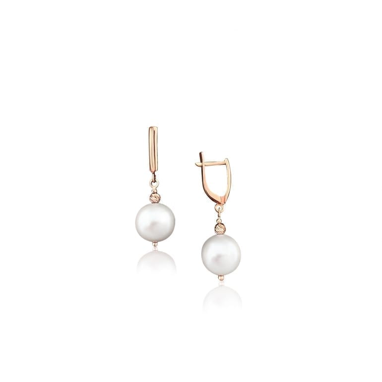 14ct rose gold earrings with white cultivated pearls