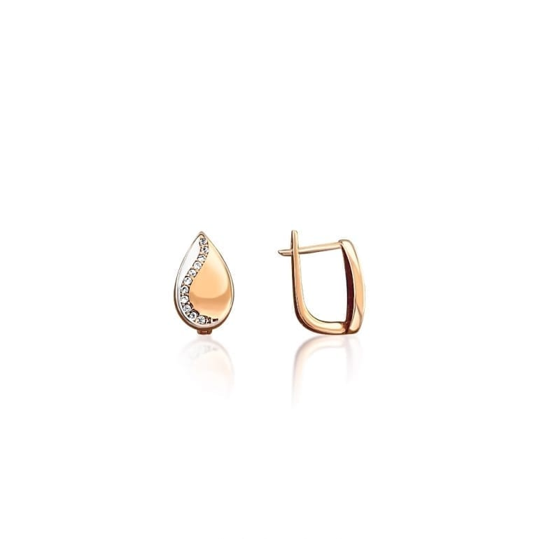 Rose and white gold earrings with cubic zirconia
