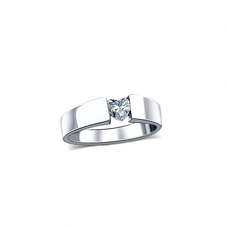 white gold ring with heart shaped cubic zirconia
