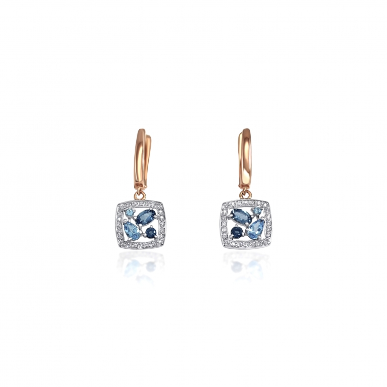Rose gold earrings with topaz