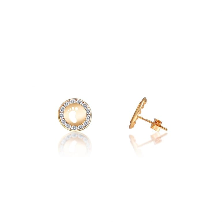 Rose gold stud earrings baby feet