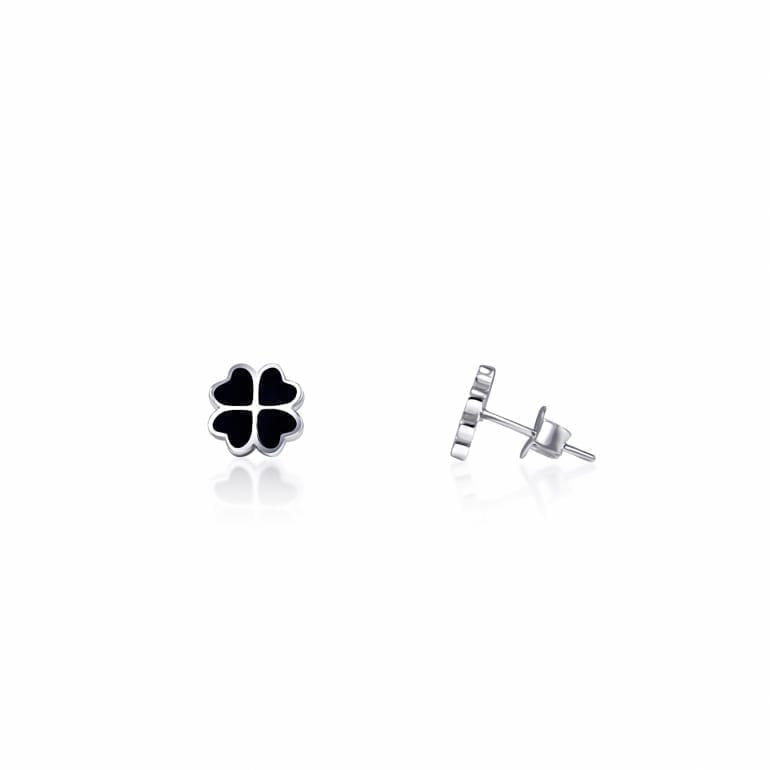 Sterling silver earrings with four leaf clover