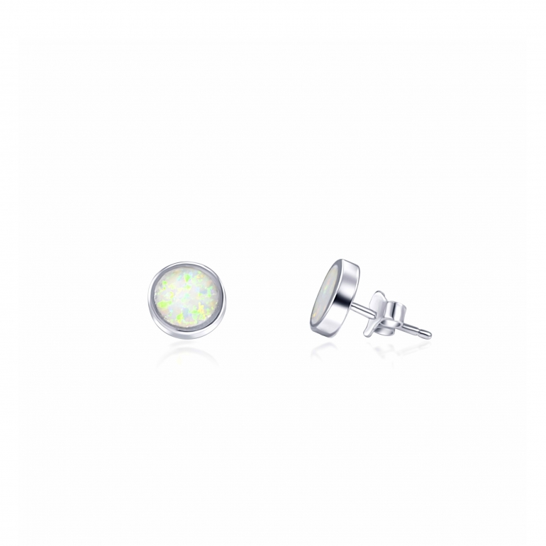Sterling silver stud earrings with white opal