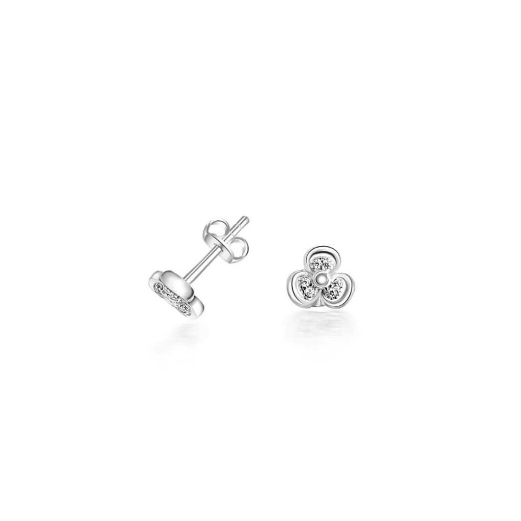 White gold stud earrings with cubic zirconia