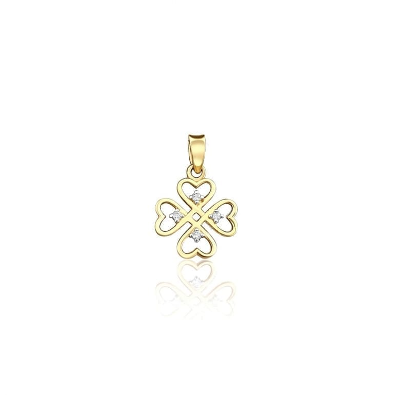 Yellow gold pendant four leaf clover
