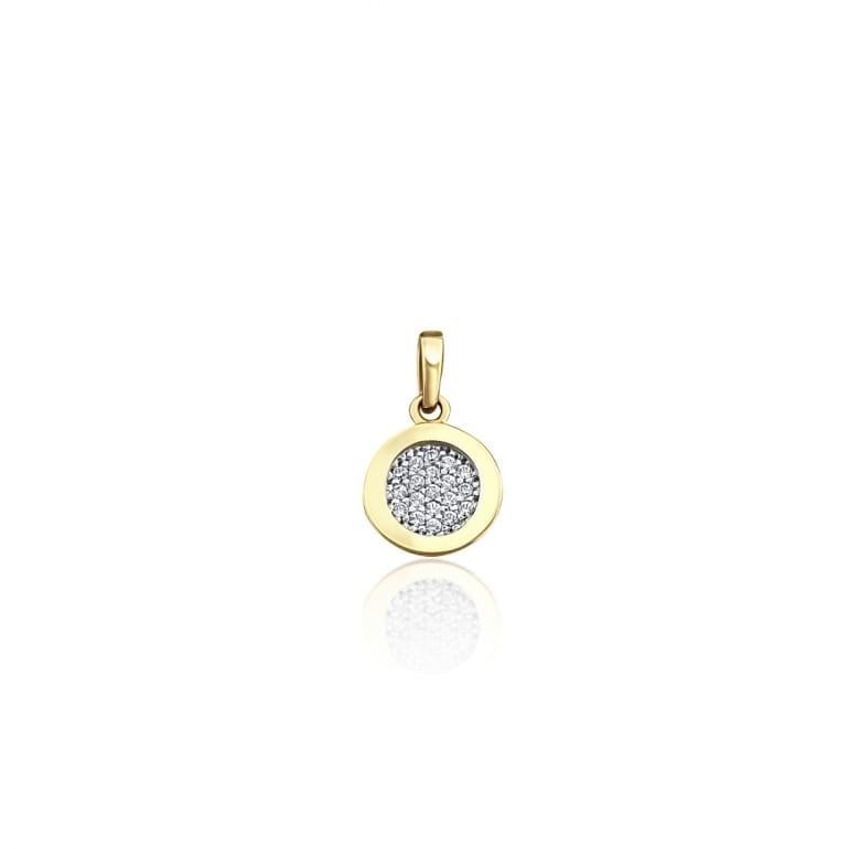Yellow gold pendant with cubic zirconia
