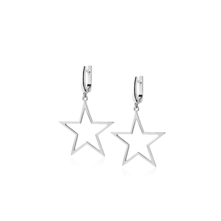 Sterling silver dangling star earrings