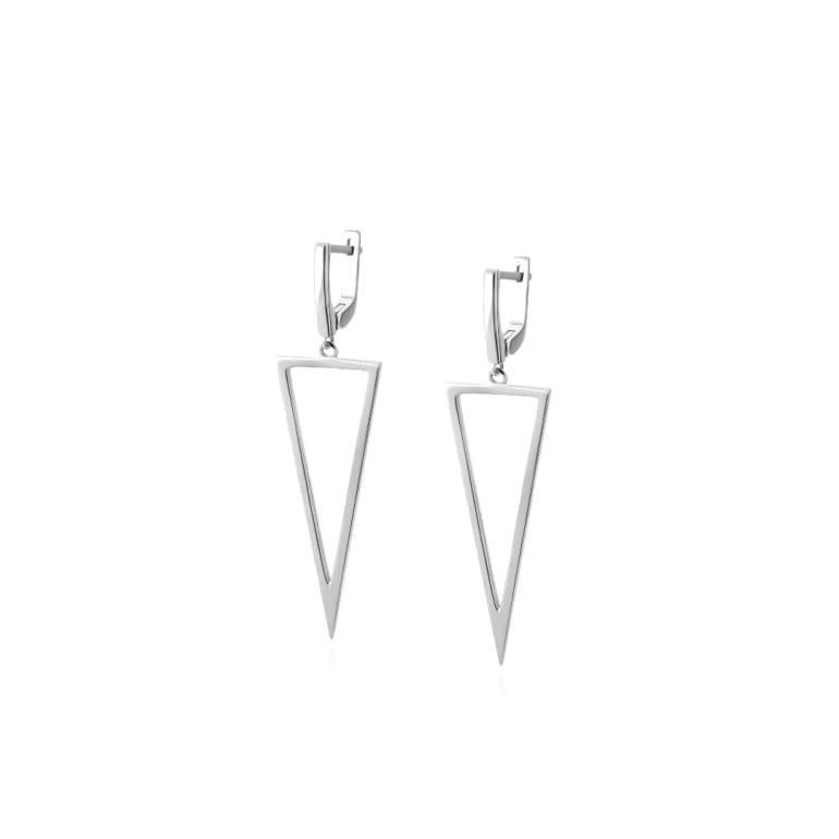Sterling silver minimalistic dangling triangle earrings