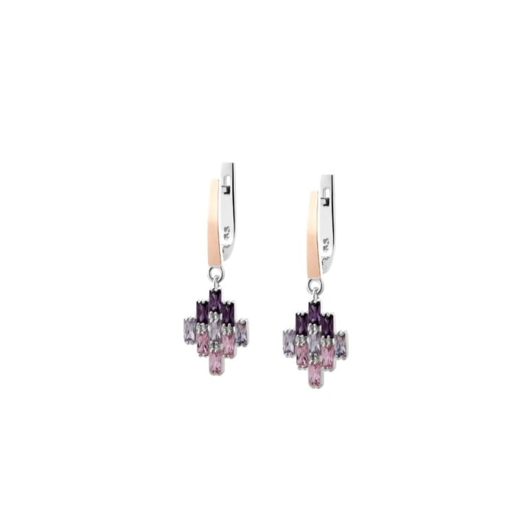 Dangling sterling silver earrings with rose gold plates and pink purple cubic zirconia