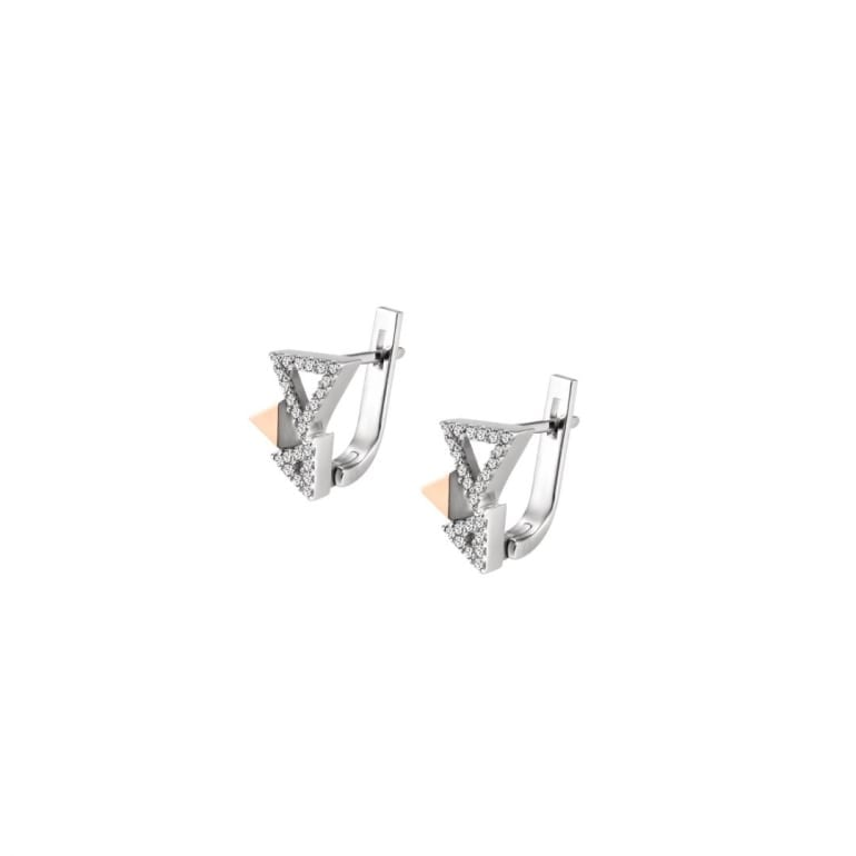 Sterling silver earrings with gold plates and cubic zirconia
