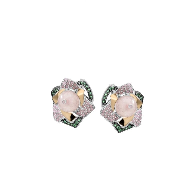 Sterling silver earrings with gold plates and rose quartz and cubic zirconia