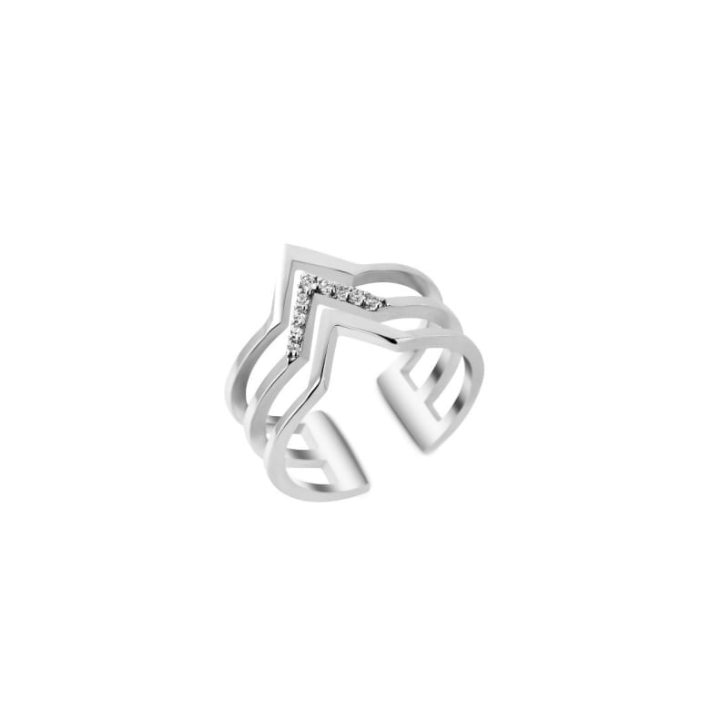Minimalistic geometric sterling silver ring with cubic zirconia